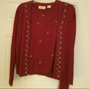 Lord & Taylor wine color Cardigan set size Large